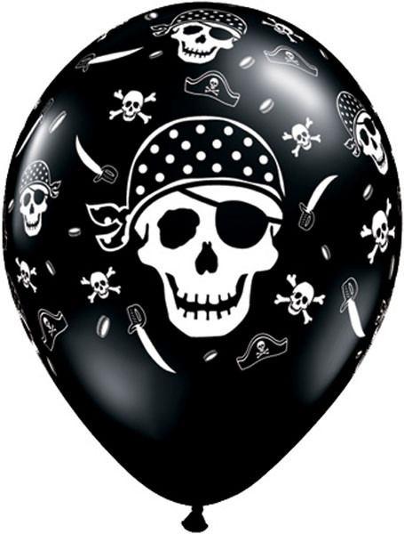 "11"" / 28cm 6szt Pirate Skull & Cross Bones Qualatex #17939"