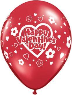 "11"" / 28cm Valentine""s Daisies & Dots Red Transparent Qualatex #61148-1"