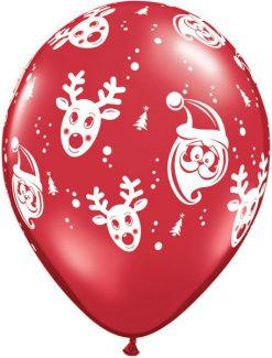 "11"" / 28cm 6szt Santa & Rudolph Qualatex #21605"
