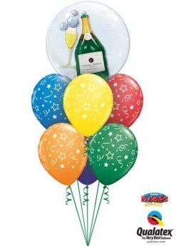 Bukiet 631 Bubbly Wine Bottle & Glass Qualatex #68810 46110-6