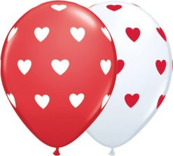 "11"" / 28cm Big Hearts Asst Red & White Qualatex #76928-1"