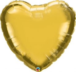 36″ / 91cm Solid Colour Heart Metallic Gold Qualatex #78451