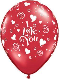 "16"" / 41cm I Love You Swirling Hearts Qualatex #84754-1"