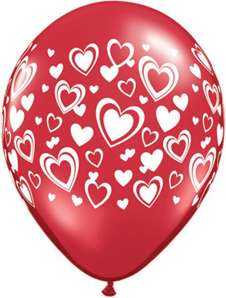 "11"" / 28cm Double Hearts Ruby Red Qualatex #90569-1"
