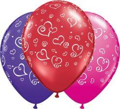 "11"" / 28cm Swirl Hearts Asst Red, Purple Violet, & Wild Berry Qualatex #90570-1"