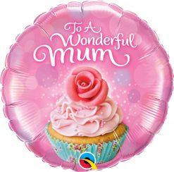 "18"" / 46cm To A Wonderful Mum Cupcake Qualatex #90585"