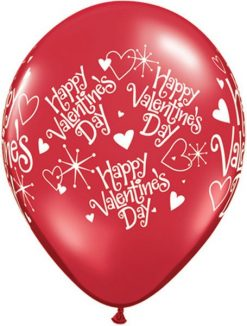 "11"" / 28cm 6szt Valentine's Sparkles & Hearts Ruby Red Qualatex #91851"