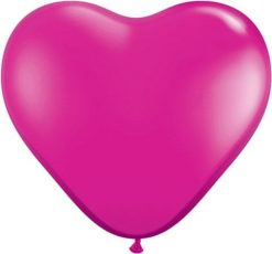 "6"" / 15cm Solid Colour Heart Latex Jewel Magenta Qualatex #99328-1"