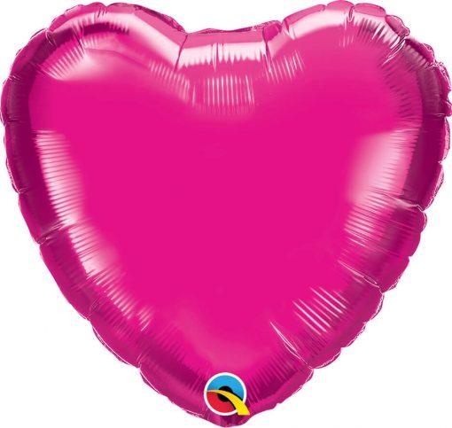 "18"" / 46cm Solid Colour Heart Magenta Qualatex #99335"