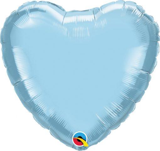 18″ / 46cm Solid Colour Heart Pearl Light Blue Qualatex #99346