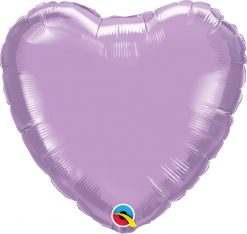 18″ / 46cm Solid Colour Heart Pearl Lavender Qualatex #99348