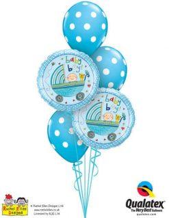 Bukiet 206 Rachel Ellen - Baby Boy Stroller Qualatex #50253-2 54140-3