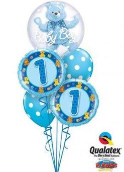 Bukiet 225 Double Bubble Baby Blue Bear Qualatex #29486 26277-2 54140-2