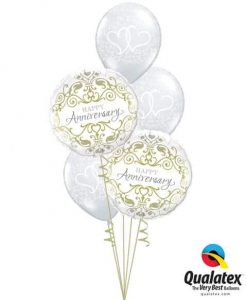 Bukiet 655 Classic Anniversary Arrangement Qualatex #36491-2 37200-3