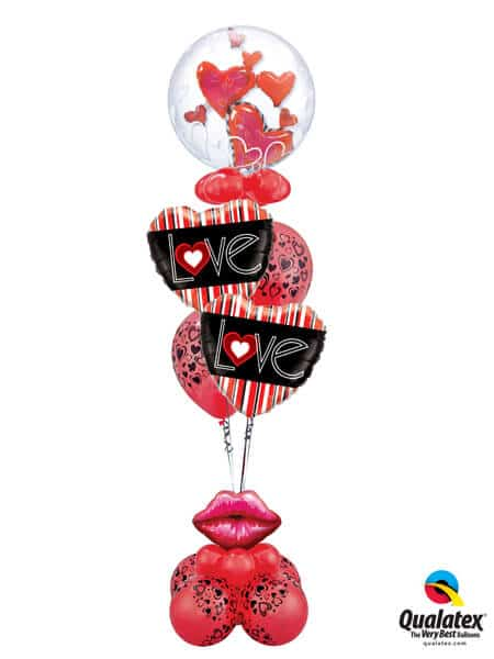 Bukiet 333 Double Bubble Lovely Floating Hearts Qualatex #68808 21698-2 40863-6 40213 43599-4