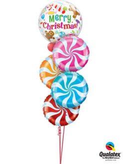 Bukiet 601 Merry Christmas Candy Swirls Qualatex #43434 17355 17360 17362 64329