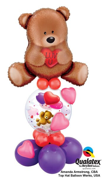 Bukiet 408 Teddy Bear Love Qualatex #16453 65205 17777-4 43599-8 43642-3