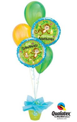 Bukiet 168 Birthday Monkeys Qualatex #49927-2 91539-2 91541