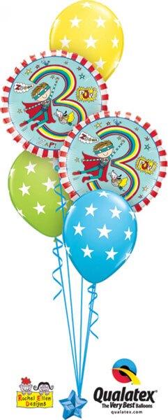 Bukiet 428 Rachel Ellen - Age 3 Super Hero Stripes Qualatex #23848-2 18077-3