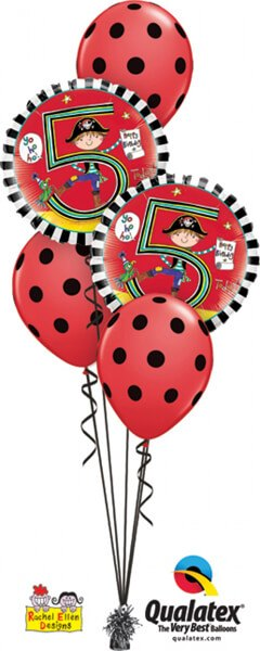 Bukiet 424 Rachel Ellen - Age 5 Pirate Stripes Qualatex #24160-2 18074-3