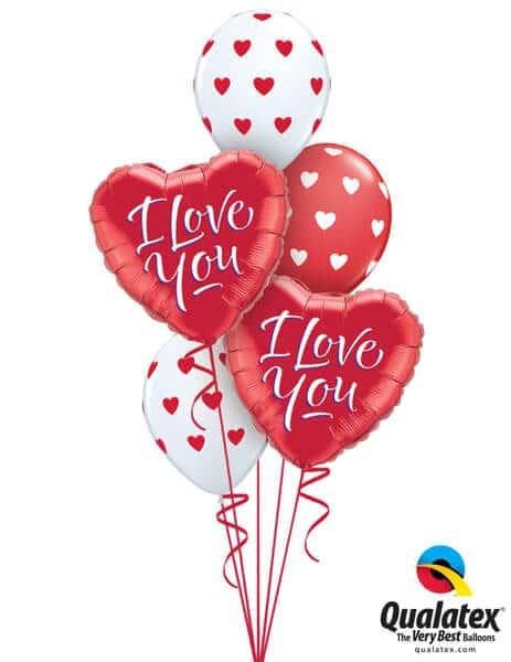 Bukiet 644 Red & White Valentine's Hearts Qualatex #29133-2 76928-2