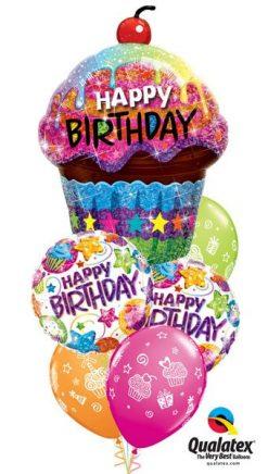 Bukiet 32 Birthday Dazzling Cupcake Qualatex #16085 41438-2 87291-3