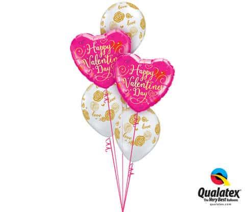 Bukiet 673 Valentine's Gold Script and Love Roses bouquet #54838-2 55248-3