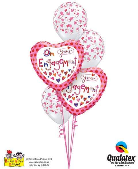Bukiet 218 Rachel Ellen - On Your Engagement Qualatex #51171-2 40295-3