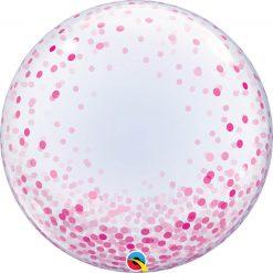 24″ / 61cm Deco Bubble Pink Confetti Dots Qualatex #57790