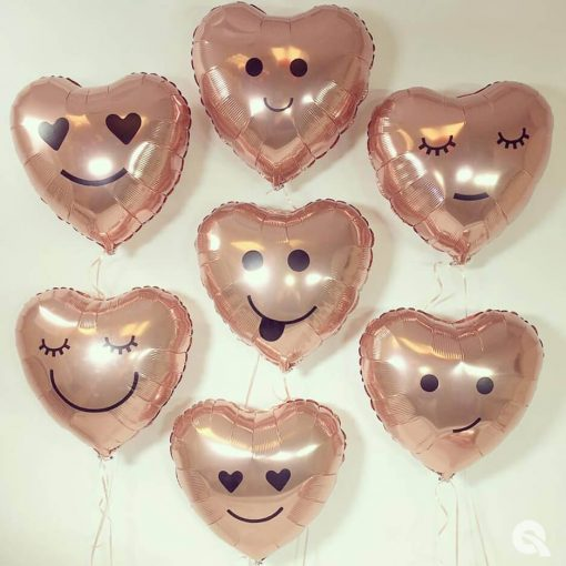 "18"" / 46cm Solid Colour Heart Rose Gold Qualatex #57047"