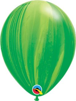 11 28cm SuperAgate Green Rainbow Qualatex #91539-1