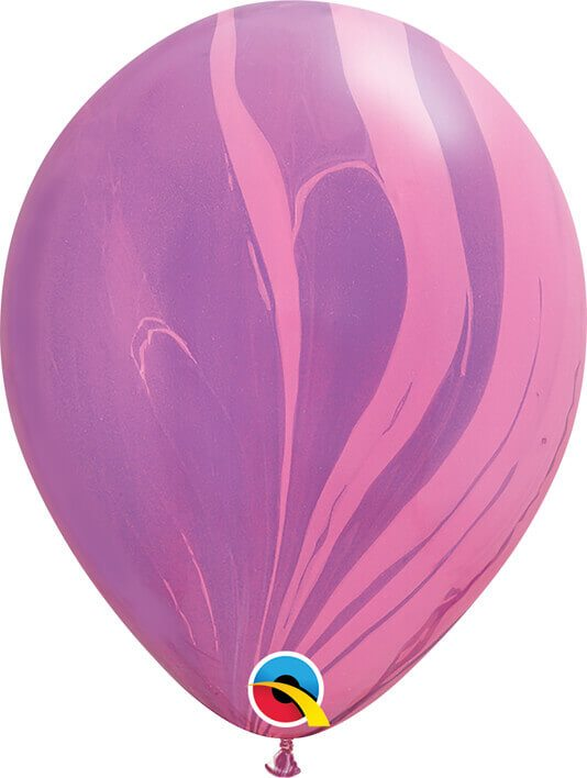 11 28cm SuperAgate Pink Violet Rainbow Qualatex #91543-1