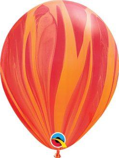 11 28cm SuperAgate Red Orange Rainbow Qualatex #91540-1