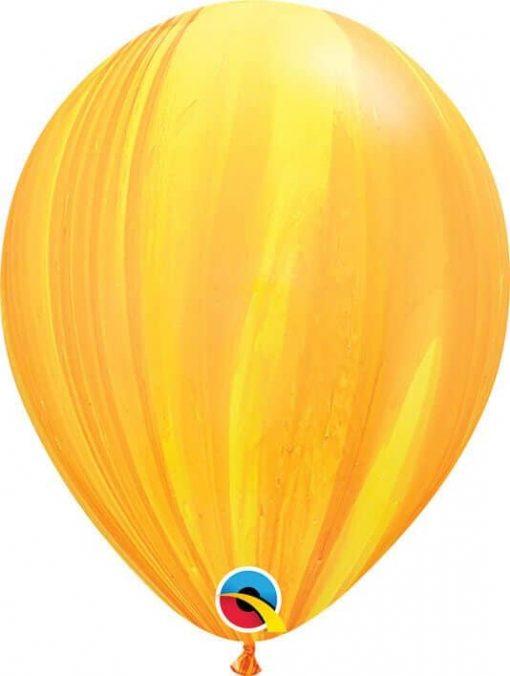 11 28cm SuperAgate Yellow Orange Rainbow Qualatex #91541-1