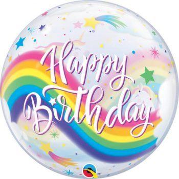 22 56cm Birthday Rainbow Unicorns Qualatex #87744