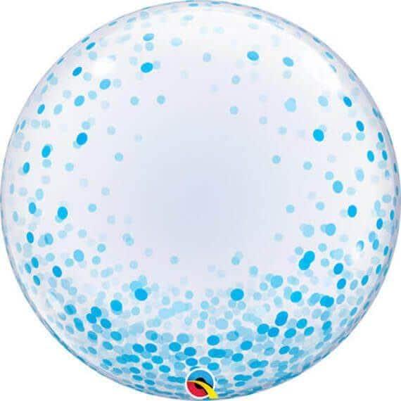 24″ 61cm Deco Bubble Blue Confetti Dots Qualatex #57789