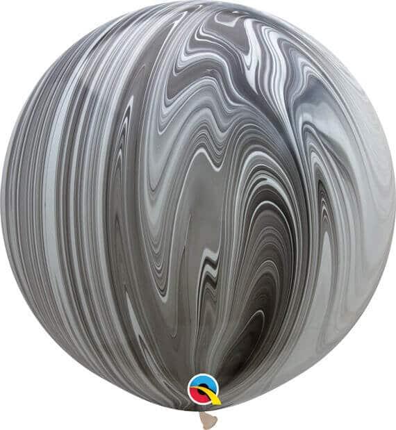 30 76cm SuperAgate Black & White Qualatex #35206-1