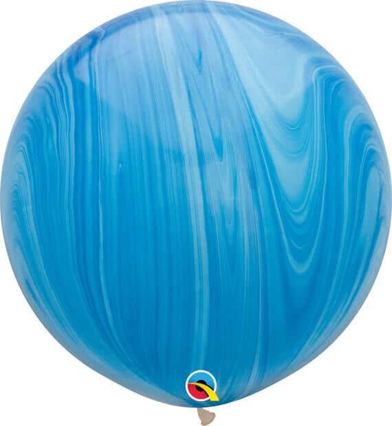 30 76cm SuperAgate Blue Rainbow Qualatex #63756-1