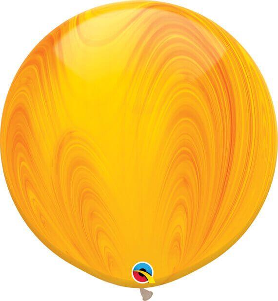 30 76cm SuperAgate Yellow Orange Rainbow Qualatex #63760-1