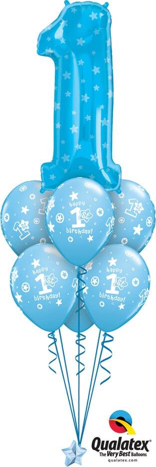 Bukiet 732 Blue Number 1 Birthday Qualatex #16482 41186-6