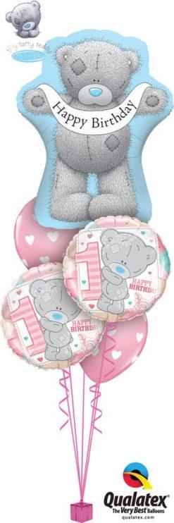 Bukiet 730 Tiny Tatty 1st Birthday Girl Qualatex #16624 20776-2 27051-2