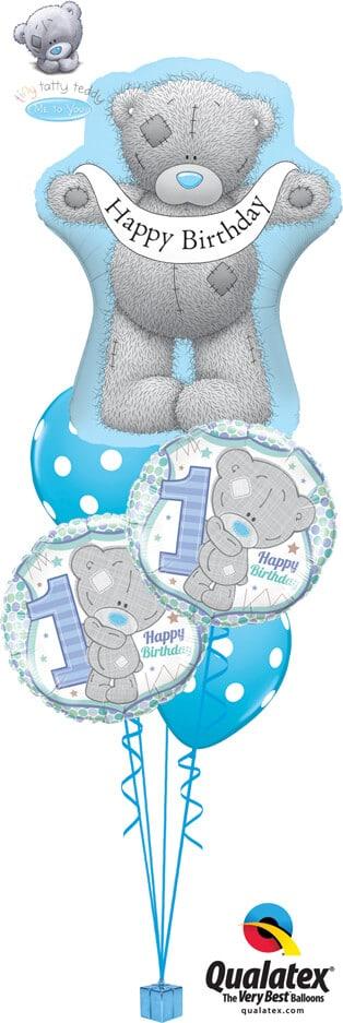 Bukiet 731 Tiny Tatty 1st Birthday Boy Qualatex #16624 20788-2 38886-2