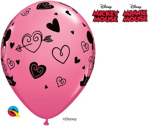 "11"" / 28cm Disney Mickey & Minnie I Love You Asst of Red, Rose Qualatex #23186-1"