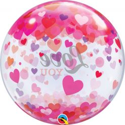 "22"" / 56cm Love You Confetti Hearts Qualatex #54604"