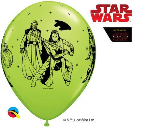 "11"" / 28cm Star Wars: The Last Jedi Asst of Red, Lime Green, Robin's Egg Blue Qualatex #55507-1"