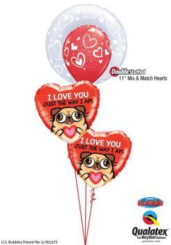 Bukiet 799 Valentine's Pug & Kisses Qualatex #29505 11123-1 78551-2
