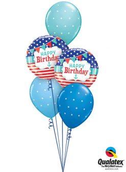 Bukiet 770 Happy Nautical Birthday Qualatex #49178-2 18466-3