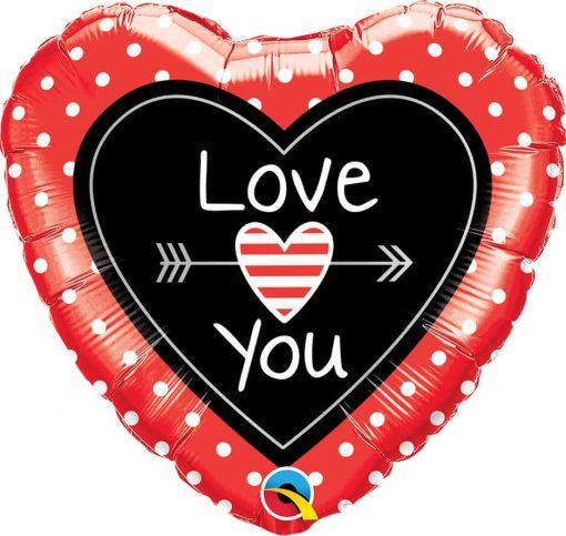 "18"" / 46cm Love You Dots & Arrows Qualatex #54850"