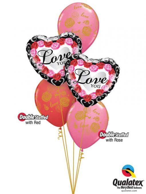 Bukiet 779 Golden Pink & Red Roses Valentine Frame Qualatex #54858-2 57056-3
