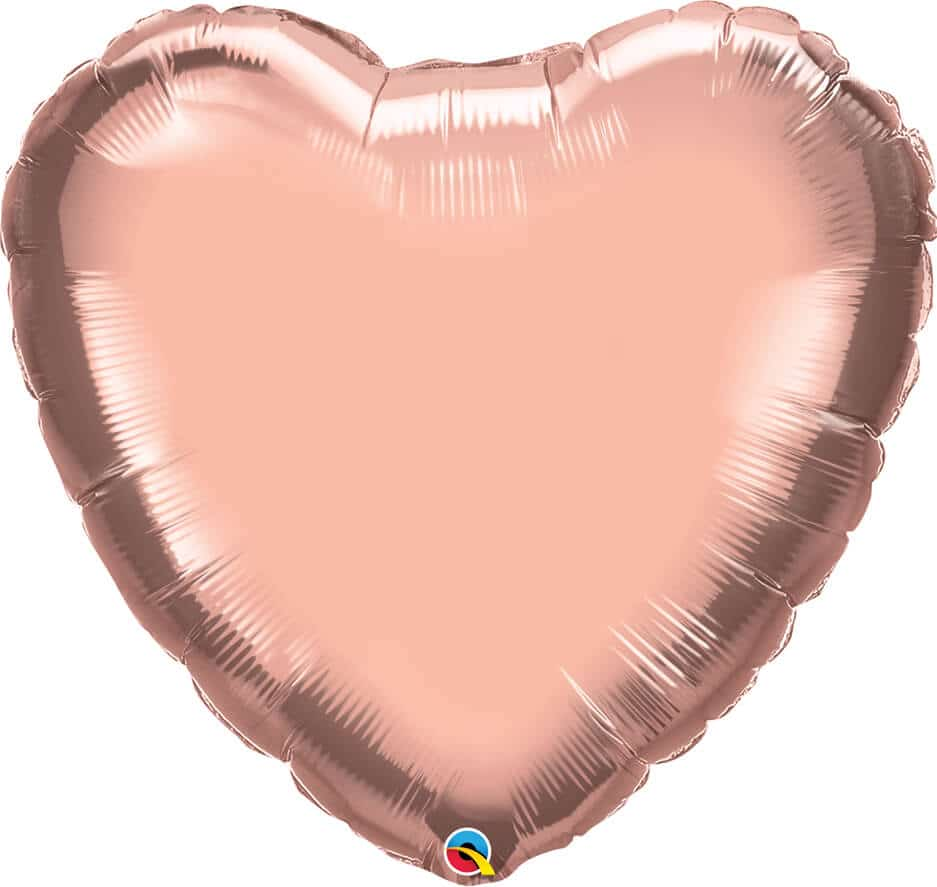 36″ / 91cm Solid Colour Heart Rose Gold Qualatex #78451